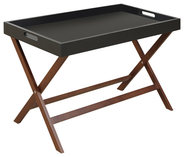 Baja Coffee Table With Removable Tray Black And Cherry Contemporary Tv Trays By
