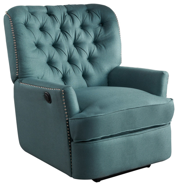 Palermo Tufted Fabric Power Recliner Chair, Dark Teal