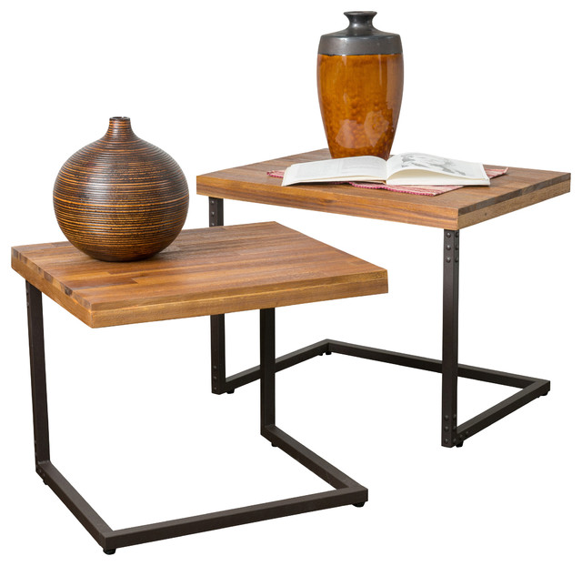 Blaine 2 piece nesting table set industrial side tables and end blaine 2 piece nesting table set watchthetrailerfo