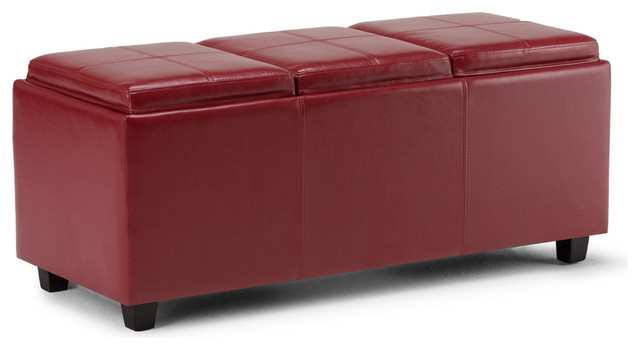 Cool Simpli Home Avalon Faux Leather Storage Bench In Red Theyellowbook Wood Chair Design Ideas Theyellowbookinfo