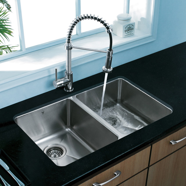Vigo premium collection double kitchen sink faucet vg14003 modern kitchen sinks new york - Designer sink image ...