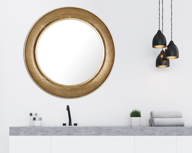 34 5 Dia Round Golden Mirror With Metal Frame Traditional Wall Mirrors By Artmaison Canada