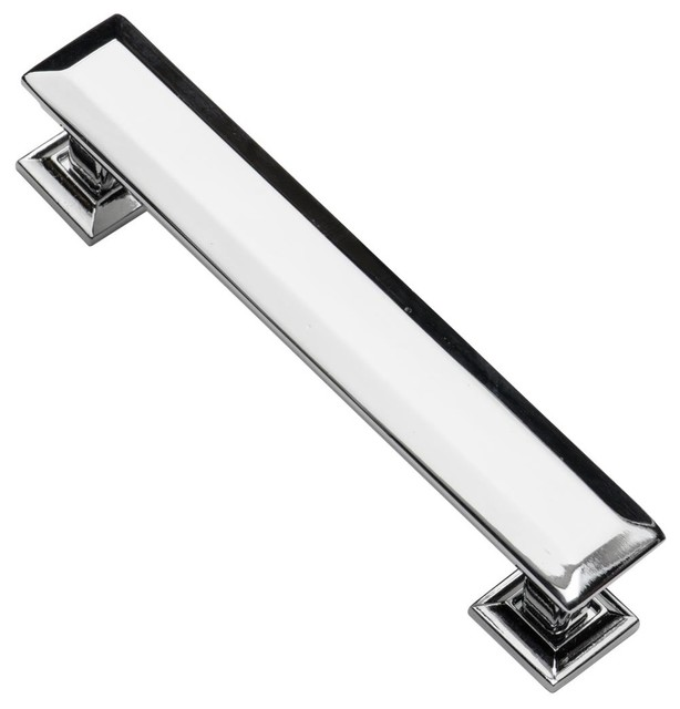 "5"" modern fashion black kitchen cabinet handles shiny silver ..."