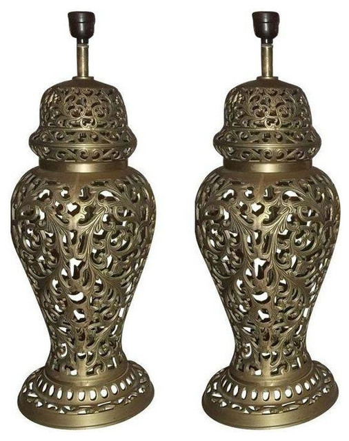 Vintage Pierced Brass Ginger Jar Lamps A Pair 450 Est Retail 275 On Cha