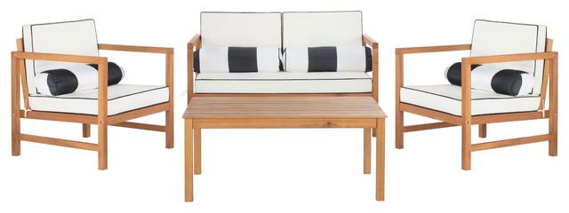 Safavieh Montez 4-Piece Outdoor Set With Accent Pillows, Teak Brown, Beige.