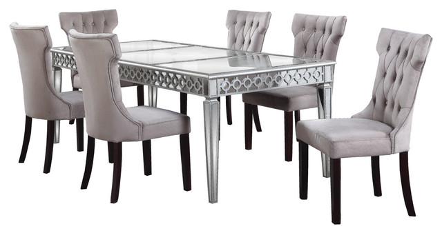 Alyssa Silver Mirrored Dining Room 5 Piece Set