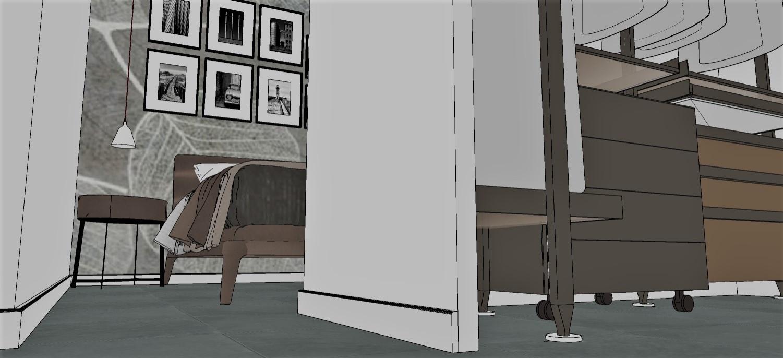 Vista della camera padronale con cabina armadio.