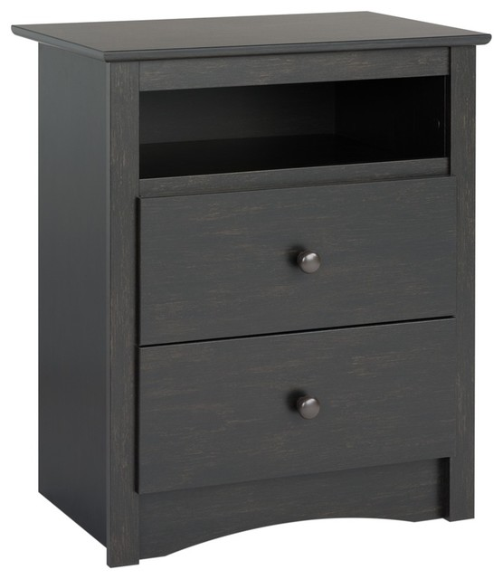 Prepac Riverdale 2-Drawer Nightstand, Washed Black.