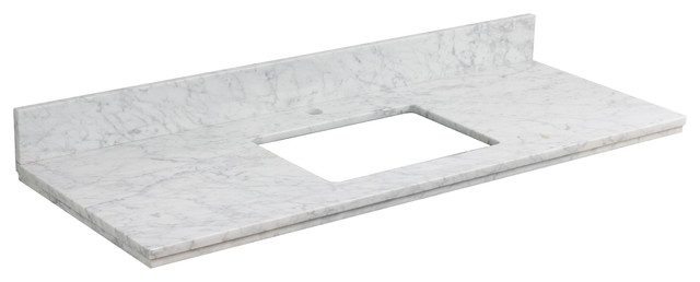 """47.6""""x18.25"""" Marble Top, Bianca Carara For 1 Hole Faucet."""