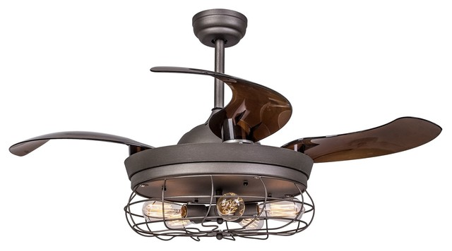 Industrial Ceiling Fan With Retractable Blades, Antique Gray.