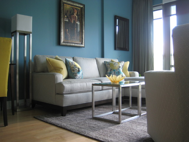 Perfect Turquoise And Yellow Living Room Modern Living Room