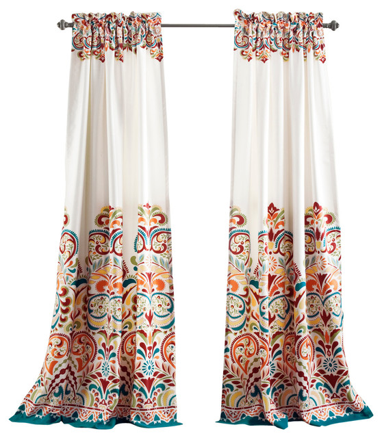 Modern Paisley Blackout Curtains, Turquoise And Tangerine, Set Of 2.
