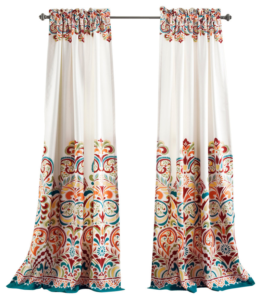 A810 Turquoise BlueBright Orange 2 in 1 Window Curtain Panel
