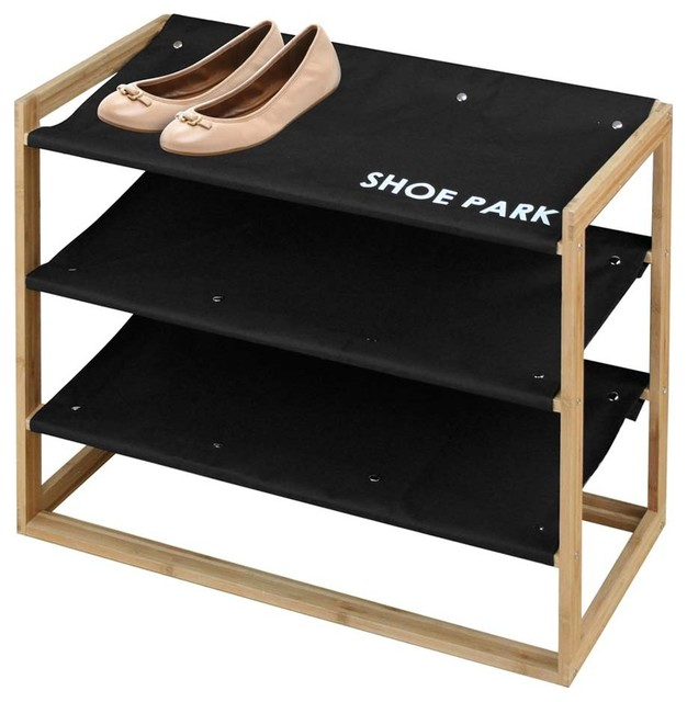 Bamboo And Canvas Shoe Park Shoe Rack Contemporary Shoe