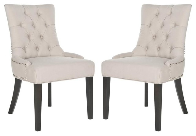 Kalmin Tufted Dining Side Chairs, Set Of 2, Taupe Linen.