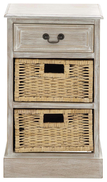 Exceptional Urban Designs Weathered 3 Drawer Storage Chest Night Stand With Wicker  Baskets Contemporary Nightstands
