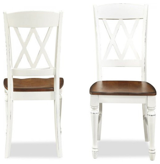 """Traditional Dining Chairs monarch double x-back dining chairs, white/oak, 38""""h x 20.75""""w x"""