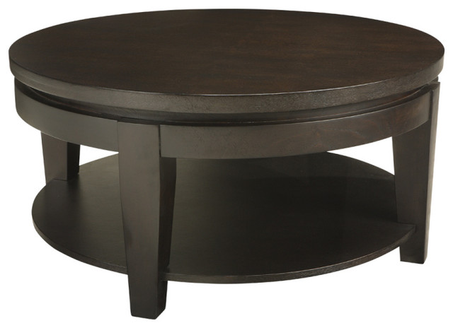 Asia Round Coffee Table, Espresso Coffee Tables