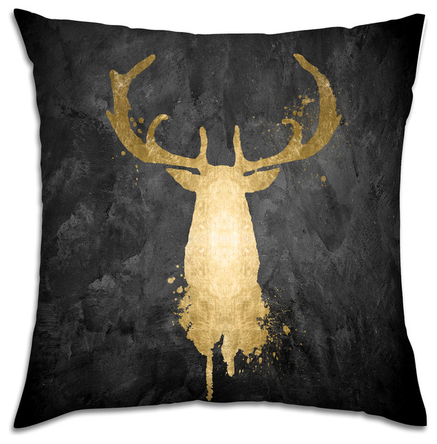 """stag Majesty Gold"" Pillow, 18""x18""."
