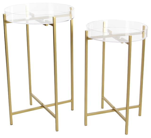 GwG Outlet Metal Acrylic Tray Table 23 27 Set Of 2