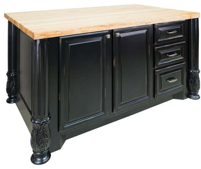 Milanese Kitchen Island, Distressed Black Traditional Kitchen Islands And  Kitchen