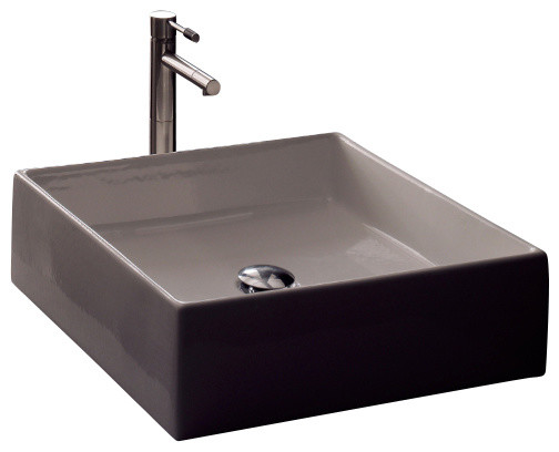 Square White Ceramic Vessel Sink, No Hole.
