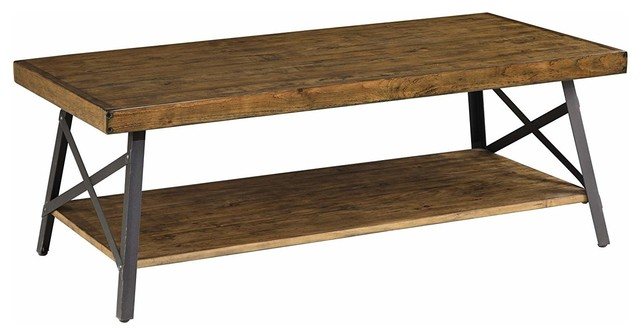Rustic Stylish Coffee Table With Solid Pine Wooden Top And Black Metal Frame