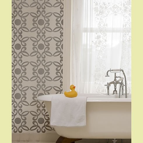 Kathy Peterson Stencil Line - Fleur Allover Stencil contemporary-home-decor