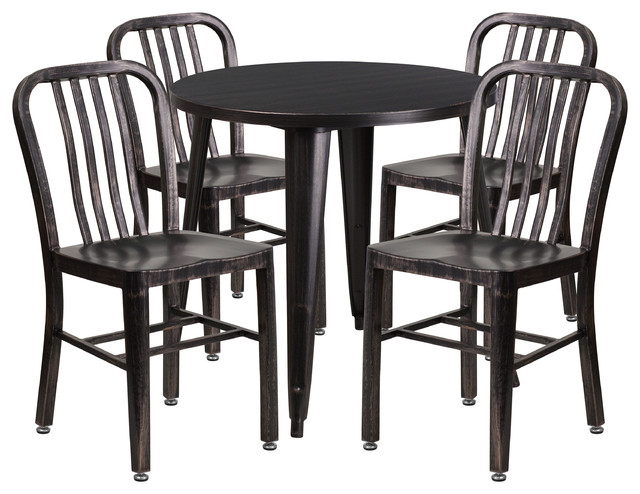 Flash Furniture 30'' Round Black Metal Table Set With 4 ...