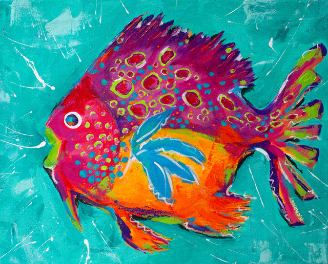 Whimsical Colorful Fish Paintings View In Your Room