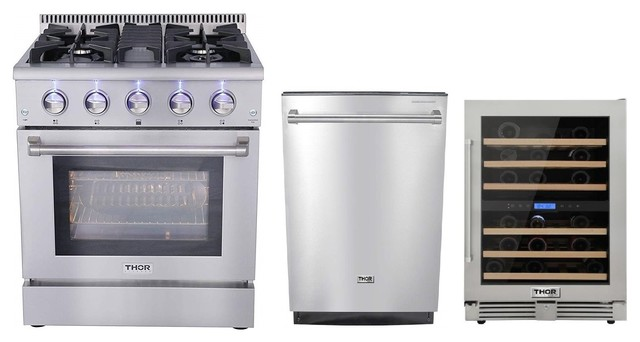 Thor Kitchen 3 Piece 30 Gas Range Dishwasher And Wine Cooler Natural Gas