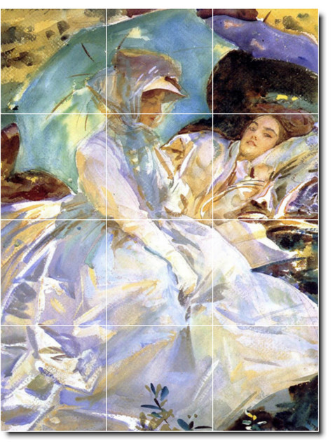 John sargent women painting ceramic tile mural 152 for Ceramic mural painting