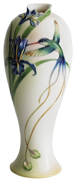 Franz Porcelain Collection Long Tail Hummingbird Tall Vase