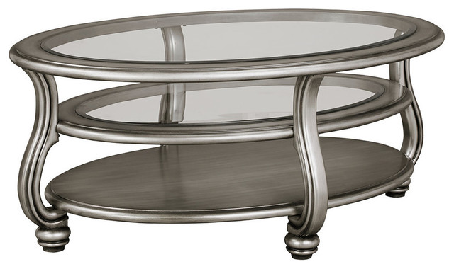 Ashley Coralayne Oval Cocktail Table, Silver Finish.