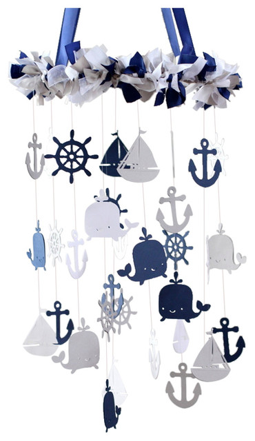 Nautical Nursery Mobile Navy Gray And White
