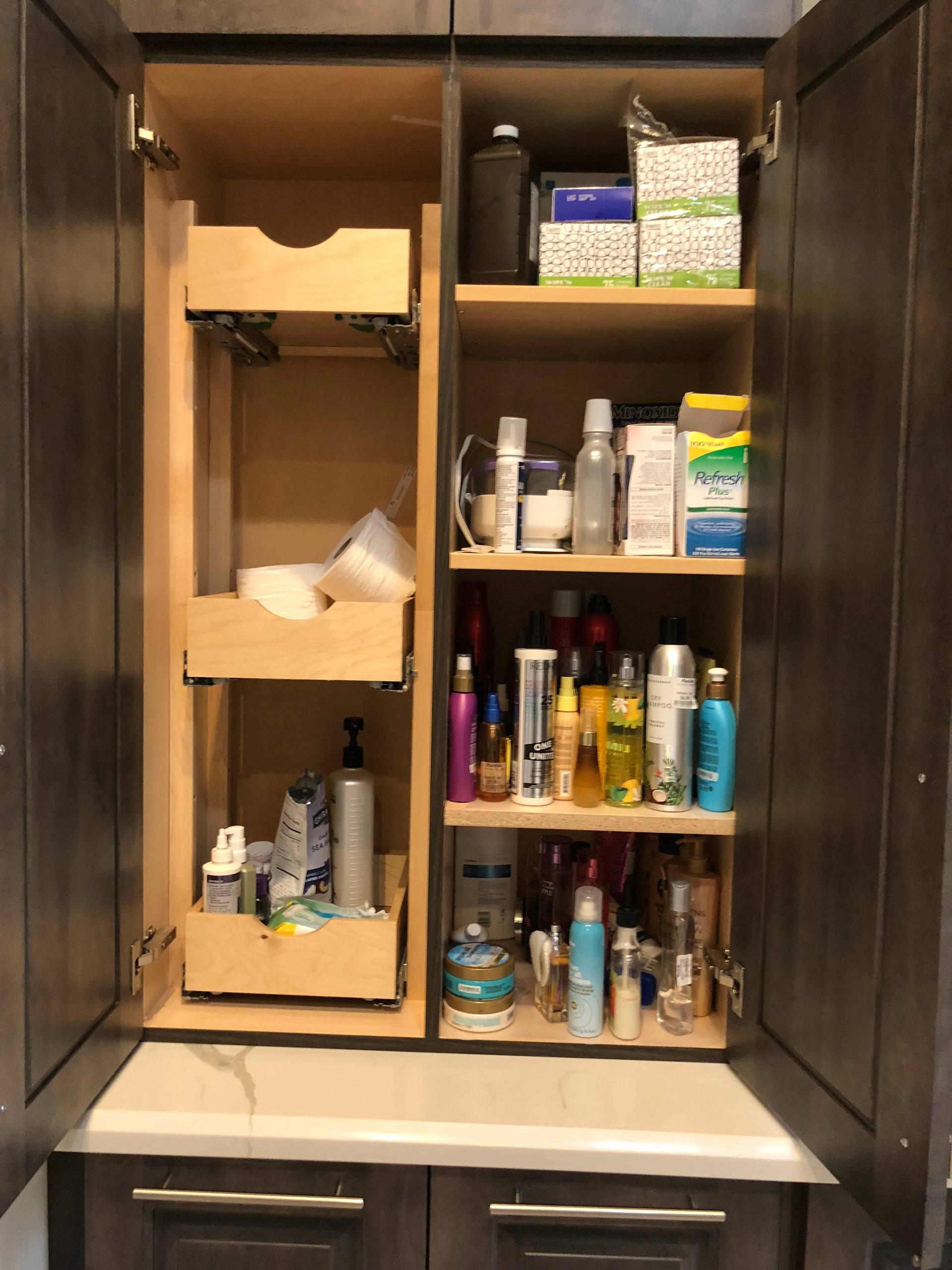 Bathroom cabinet organizer and pullouts
