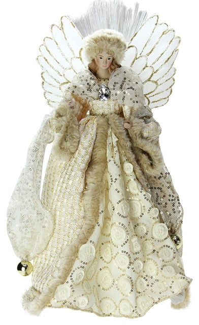 14 Lighted B O Fiber Optic Angel With Cream And Gold Christmas Tree Topper
