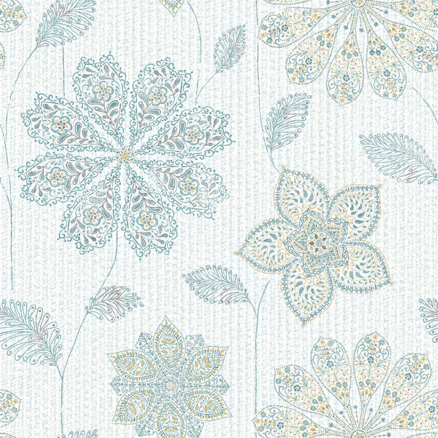 Bohemian floral peel and stick wallpaper eclectic wall Floral peel and stick wallpaper