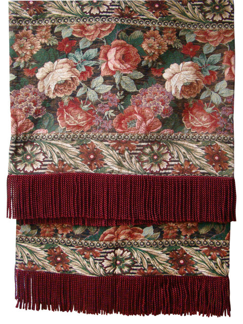 Red Royal Floral Tapestry Throw.