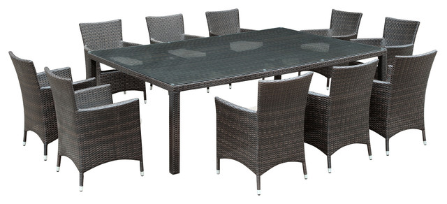Al Fresco Outdoor Wicker Patio 11-Piece Dining Set contemporary-outdoor- dining- - East End Imports Al Fresco Outdoor Wicker Patio 11-Piece Dining