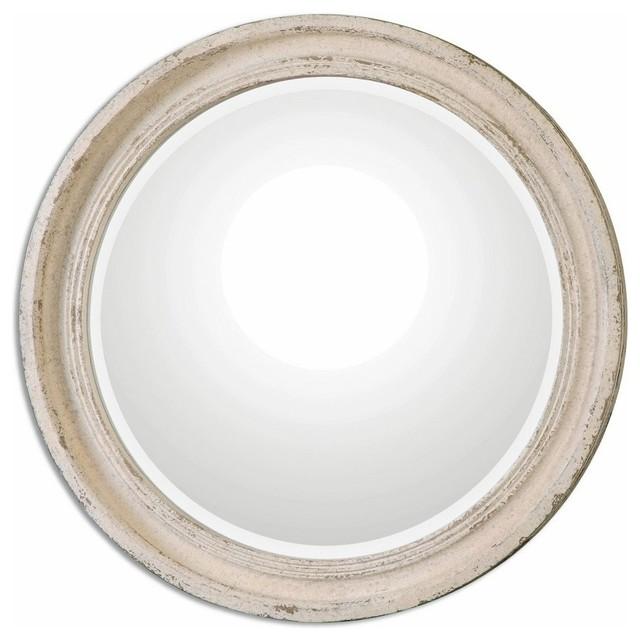 Classic Round Wall Mirror Ivory Cream Distressed Vanity