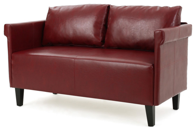 Surprising Gdf Studio Harbison Leather Loveseat Settee Red Gmtry Best Dining Table And Chair Ideas Images Gmtryco