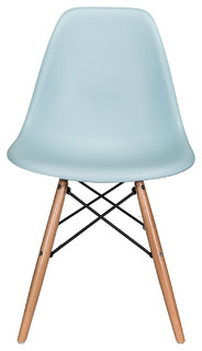 Nature Series DSW Molded Dining Chair, Beech Wood Eiffel Legs, Ice Blue