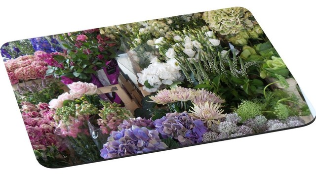 Beautiful Pink Lilac White Flowers Flower Stall Mouse Pad.