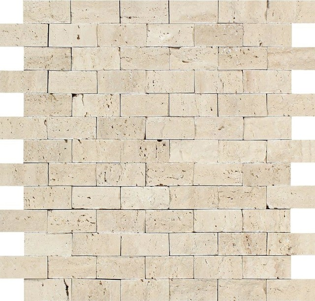 12 X12 Split Faced Ivory Travertine Brick Mosaic Tile