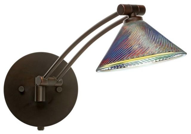 Besa Lighting 1ww 550493 Br Kona Wall Sconce Bronze Dicro Swirl Gl