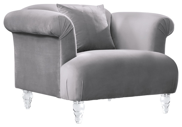 Elegance Contemporary Sofa Chair, Gray Velvet With Acrylic Legs