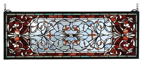 """28""""Wx10""""H Versaille Transom Stained Glass Window"""