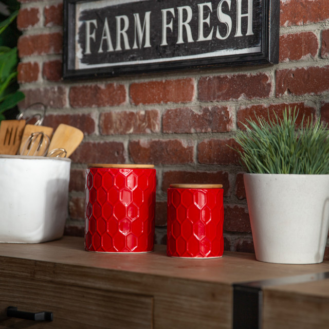 Stady 2 Piece Ceramic Canister Set Transitional Kitchen Canisters And Jars By Urban Trends Collection