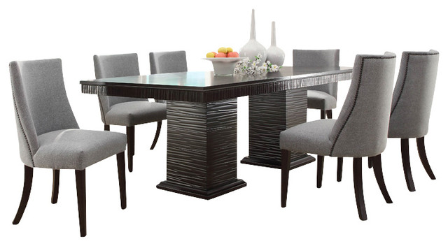 Homelegance Chicago 8 Piece Pedestal Dining Room Set In Deep